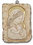 Bassorilievo pietra Madonna con bambino  con doratura