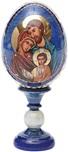 Icona russa Sacra Famiglia su uova di legno