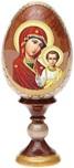 Icona russa Madonna con bambino  su uova di legno