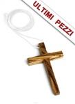 Ciondolo a croce in legno d'ulivo con laccio