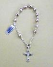 Decina rosario bracciale argento perle ovali rosa