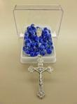 Corona rosario vetro striato azzurro