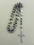Corona rosario metallo cloisonné blu