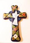 Croce Colomba Fiori blu