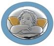 Icona ovale argento con calamita angioletto azzurro