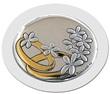 Icona ovale argento con calamita fedi nuziali bianco