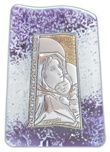 Icona onda viola Madonna Ferruzzi vetro argento