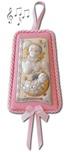 Sopraculla rettangolare con carillon argento Angeli rosa