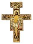 Croce in legno San Damiano con doratura cm 14x10 Arte sacra