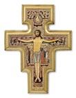 Croce in legno San Damiano con cornice dorata Arte sacra