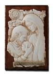 Bassorilievo pietra Sacra Famiglia intarsio su tavola