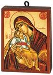 Icona Madonna dolce amore (manto rosso) rettangolare Arte sacra