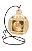 Lanterna Angelo beige con piedistallo e luce Festività, ricorrenze, occasioni speciali