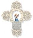 Croce azzurra traforata Angelo di Dio Arte sacra