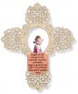 Croce rosa traforata Angelo di Dio Arte sacra
