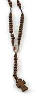 Corona rosario Giovanni Paolo II legno e cotone marrone Rosari