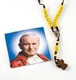 Corona rosario Giovanni Paolo II legno e cotone giallo Rosari