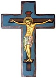 Icona Croce con base blu Arte sacra