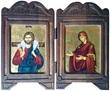 Dittico Maria e Gesù Buon Pastore Arte sacra