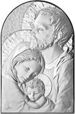 Bassorilievo A Forma Di Arco Con Lastra In Argento 925 Cm 9 X 6 - Sacra Famiglia Arte sacra