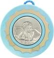 Sopraculla A Forma Rotonda Con Lastra In Argento 925 Di Color Azzurro Cm 9 - Angelo Festività, ricorrenze, occasioni speciali