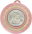 Sopraculla A Forma Rotonda Con Lastra In Argento 925 Di Color Rosa Cm 9 - Angelo Festività, ricorrenze, occasioni speciali