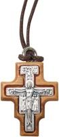 Croce San Damiano In Metallo Ossidato Su Legno Ulivo Cm 3X2 C/Cordone Arte sacra