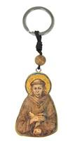 Portachiave Con Grano In Ulivo E Immagine Serigrafata Di San Francesco D'Assisi Oggettistica devozionale