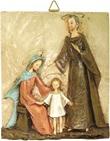 Bassorilievo Rettangolare Sacra Famiglia In Resina Colorata A Mano Di Suor Angelica Cm 32 X 38 Arte sacra