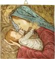 Bassorilievo Quadrato Madonna Con Bambino In Resina Colorata A Mano Di Suor Angelica Cm 26X26 Arte sacra