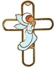 Croce Metallo Con Smalto Angelo Pregante Cm 13 Festività, ricorrenze, occasioni speciali