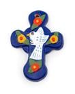 Croce mini colomba bianca fiori blu  Oggettistica devozionale