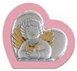Cuore argento con calamita angioletto rosa