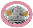 Icona ovale argento con calamita angioletto rosa