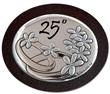 Icona ovale argento con calamita 25° anniversario nozze Festività, ricorrenze, occasioni speciali