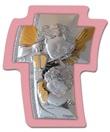 Croce argento con calamita angelo custode rosa