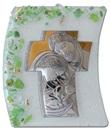 Icona vela verde Sacra Famiglia vetro argento