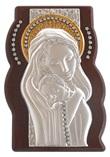 Pannello argento e legno Madonna con strass finitura dorata Arte sacra