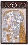 Quadro Klimt Bacio argento finitura dorata