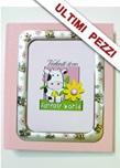 Album portafoto argento con api e fiori rosa